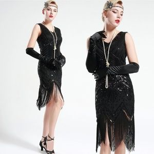 Jet Black glass beaded Fringe Flapper Dress